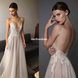 Wholesale Empire Embroidered Prom Dress - 2017 Sexy Ivory Berta Evening Dresses Deep V Neck Spaghetti Straps Embroidered Organza Backless Summer Illusion Long Prom Dress