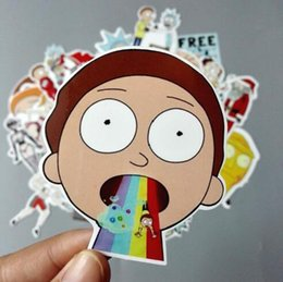 Wholesale Laptop Logo Stickers - FBA Custom Logo Drop Shipping Built Brand 35Pcs lot American Drama Rick and Morty Funny Sticker For Car Laptop Bicycle Waterproof Stickers