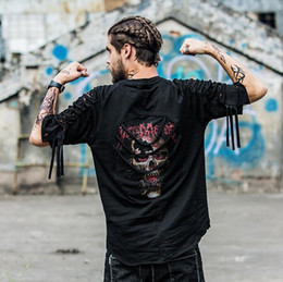 Wholesale High Neck Design For Tops - Summer t shirt New Hole Designed Men's T Shirt High Street Style Top Quality Cotton Broken Top Tees For Men