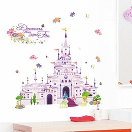 Wholesale Castle Wall Art - Dream Castle 3D Wall Stickers Removable Wallpaper for Kids Rooms Television DIY Cartoon Wall Art Decals Home Decoration Poster Sticker