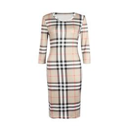 2019 vestidos brancos brancos 2018 novas mulheres dress verão o pescoço three quarter manga xadrez partido trabalho de negócios designer de moda vestidos de roupas