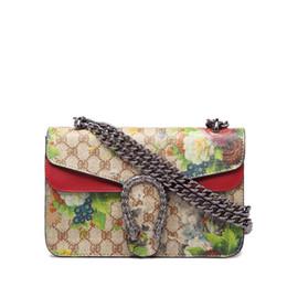 Wholesale Messengers Bags - 2017 Hot Sale Fashion Brand Design Women printing Flowers Bags High Quality handbag Shoulder Bag Chain Messenger bag