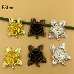 Wholesale Silver Metal Filigree - BoYuTe 50Pcs 20MM 3 Colors Metal Brass Filigree Flower Rose Pendant Charms for DIY Jewelry Making Jewelry & Accessories