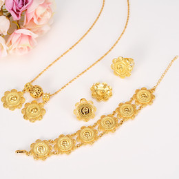 Wholesale Bridal Jewelry Set 24k - NEW Ethiopian Coin Sets Jewelry With 24k Real Yellow Solid Gold GF Pendant Necklace Earrings Ring Bracelet Bridal Wedding Women