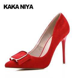 Wholesale Women Sexy Shoes Inch - Pointed Toe Pumps 4 Inch Heels Wedding Shoes 34 Small Size Thin High Bride Women Extreme Bow 2017 Red Formal Sexy Green Dress