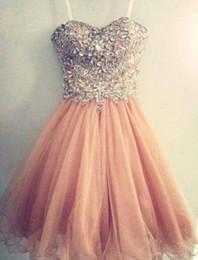 Corallo vestito da promenade dell'innamorato online-Coral Peach Short Prom Dress Sweetheart Tulle Rhinestones Crystal Beaded Women Wear Special Occasion Dress Evening Party Dress