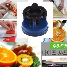 Wholesale Secured Knife Scissor Sharpener - DHL Free 2 Colors Scissors Grinder Secure Knife Sharpener Suction Chef Pad Kitchen Sharpening Tool Free Drop Shipping