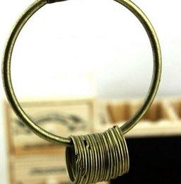 Wholesale Large Round Metal Ring - 200 pcs Hot Large Vintage Alloy Key Rings Holder Bronze Round Keychain Key Holder DHL Fedex Free
