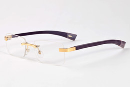 Wholesale Gold Wood Eyewear - Retro Rimless White Buffalo Horn Fashion Sunglasses Wholesale Designer Brand Eyewear for men women glasses green purple gold wood