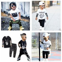 Wholesale tattoo style t shirts - Wild Child Baby Clothing Sets INS Letter Printed Kids Tattoo Sleeves T-shirt Pants Suits Boys Clothing Set Baby Boys Boutique Clothing J330