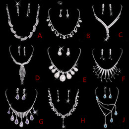 Wholesale Rhinestone Bridesmaid Necklaces - Best Selling Cheap Nine Styles Statement Necklaces Pearl Sets Bridesmaids Jewelry Lady Women's Prom Party Fashion Jewelry Earrings