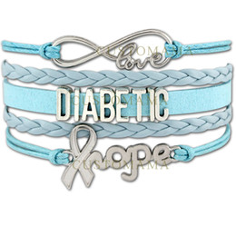 Wholesale Diabetic Charms - Custom-Infinity Love Diabetic Awareness Hope Ribbon Charm Wrap Bracelet Gift for Diabetics Baby Blue Purple Green Pink Leather Custom
