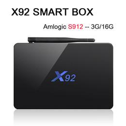 Octa core caixa de 64bit tv on-line-Amlogic S912 3G 16G X92 Octa-Core 64bit Android 7.1 CAIXA de TV 2G 16G Dual Wifi HDMI 4 K H.265 BT4.0 Leitor de Mídia Inteligente VS X96 H96 S905X