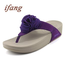 Wholesale Open Back Thong - Wholesale-ifang Women Wedges Shoes Flip Flops Woman Summer Beach Flip Flops Big Size Flowers Women Sandals Women's Thong Shoes
