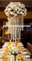 Suporte de mesa de cristal on-line-Peça central do casamento de ouro acrílico bead strands, 60 cm de altura de acrílico carrinho de flor de cristal para decoração de mesa de casamento.