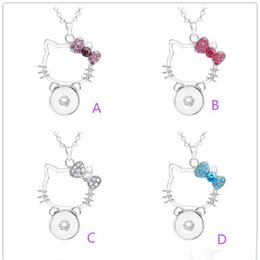 560f7f95d Chinese Pendant Necklace Hello Kitty Crystal Cat Charms with Link Chain Fit  Interchangeable 18MM Ginger Snap