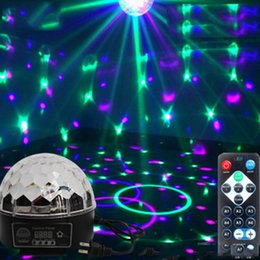 Wholesale Sound Activated Laser Lights - Wholesale- DJ 9 Color LED Sound Activated Party Light Rotating Laser Projector Lamp DMX Control Crystal Magic Ball Disco Light Strobe
