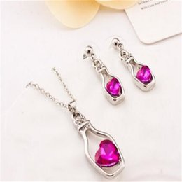 Wholesale Drifting Bottle Set - Fashion Love Drift Bottles Austrian Crystal Jewelry Sets DHL Earrings Pierced Ears Pendants Necklace And Earrings Noble Ladies Accessories