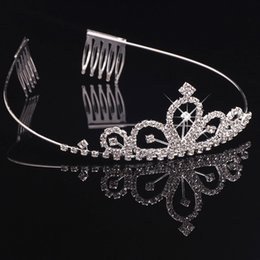 Wholesale Crystals Tiara Birthday - New Bridal Tiaras Crowns With Rhinestones Bridal Jewelry Girls Tiaras Birthday Party Performance Pageant Crystal Wedding Accessories BW-T027