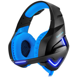 Wholesale Headset Xbox - Onikuma PC Gaming Headset for PS4 XBOX One, 3.5mm Stereo USB LED Headphones with Microphone, Volume Control for Computer Laptop Mac PlaY