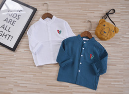 Wholesale Summer Blouses Sold Wholesale - INS hot selling baby kids blouse solid color 100% cotton boys girls long sleeve turn down collar shirts free ship