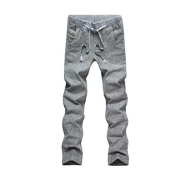 Wholesale Linen Pants Tops - Wholesale- Solid Spring Summer Men Linen Pants Trousers Candy Color 2016 Top Casual Men's Casual Sportswear Pants Drawstring Size 28-38