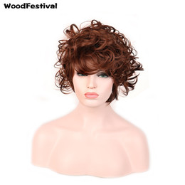 Wholesale Short Real Hair Wigs Women - WoodFestival Real picture african american wigs women reddish brown wig heat resistant fiber hair wigs synthetic short curly wig