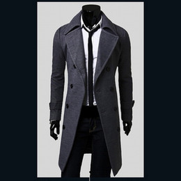 Heiße männer trenchcoat online-Großverkauf- heißer Verkauf Mens-Designer-Kleidungs-britische Art-Trenchcoat-Winter-Herbst-Wolljacke Windbreaker-Mann-Mantel Casacos 2M0135