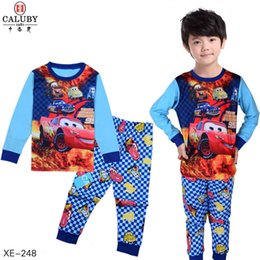 Wholesale Mcqueen Clothing - 2017 Kids Mcqueen Clothes Baby Boys Clothing Sets Toddler 2 Pieces Pajamas Sets Children Spring Pijamas For 2-7Y XE-248