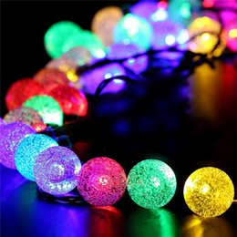 Wholesale Portable Led Fairy Light Balls - led Solar String Lights 20 Ft 30 Crystal Globe Balls Waterproof Fairy Light Outdoor Starry Lights Powered String Lights Decorative Lighting