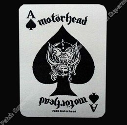 Wholesale Iron Card - England MOTORHEAD ace of spades card 2014 WOVEN Music Band Heavy Metal Iron On Patch MOTIF APPLIQUE Rock Punk Badge