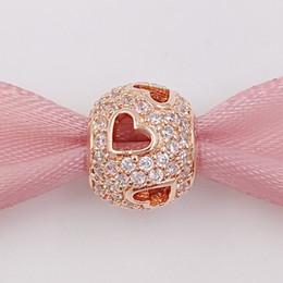 Autentici 925 perle d'argento che cadono cuori, P- Rose Clear Cz Charm Adatto a bracciali europei stile gioielli Pandora 781426CZ placcato oro rosa da