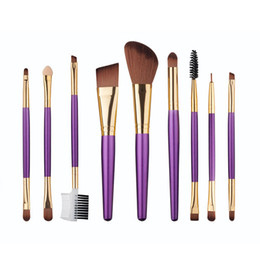 Wholesale Wholesale Fan Brushes - New arrival makeup purple handle 9pcs makeup brushes cosmetics foundation powder fan makeup brush tools high quality free shipping