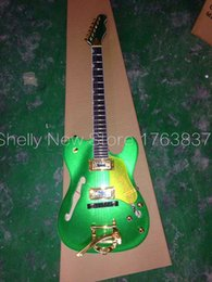 Wholesale Guitar Tremolo Gold - Wholesale-Shelly new store factory custom gold bigspy tremolo metallic sparkle TL hollow body electric guitars musical instruments shop