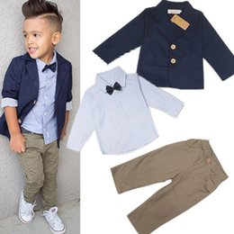 Wholesale Down Coat Europe - Children's Clothes Europe and American Style Gentleman Suit Toddler Boys Clothing Set 3PCS Coat+Long Sleeve Shirt+Pants