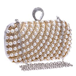 Wholesale Diamond Red Rings Gold Solid - new Finger Ring Diamonds Women Evening Bags Beaded Small Purse Chain Shoulder Handbags Day Clutches Evening Bags