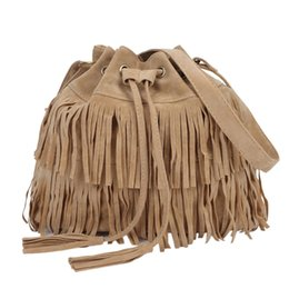 Wholesale camel suede handbag - 2017 Retro Faux Suede Fringe Women Bag Messenger Bags New Handbag Tassel Shoulder Handbags Drawstring Crossbody Gift