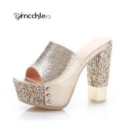 Wholesale Gold Shoes Thick Heel - Luxurious 2016 Thick Summer Style Women Platform Fashion Open Toe Sandals Chunky Wedges High Heels Slipper ladies shoes