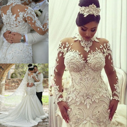 Wholesale Beaded Ivory Wedding Dress - Dubai High-Neck Mermaid Wedding Dresses Bridal Gowns Sheer Long Sleeves Beaded Lace Applique Wedding Gown Sexy Tulle Long Bridal Dress