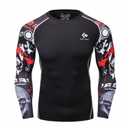 Wholesale Tights Weight - Wholesale- Men Compression Shirts MMA Rashguard Keep Fit Fitness Long Sleeves Base Layer Skin Tight Weight Lifting Elastic Mens T Shirts