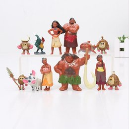 Wholesale 12pcs Moana Maui Chief Tui Sina PVC Action Figures Gramma Tala Heihei Statue Anime Figurines Dolls Kids Toys for Boys Girls