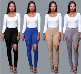 Wholesale High Jeans Girls - Womens Girls Ripped Jeans Holes Pants 2017 new Designer Denim Trousers BF style Female High Waist Skinny Elastic Slim Jean S-3XL