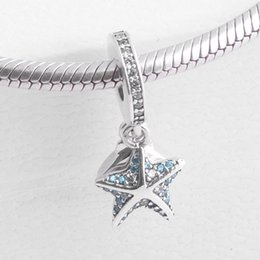 Wholesale Oval Shell Pendants - Authentic 925 Sterling Silver Bead Charm Starfish & Shell With Crystal Pendant Beads Fit Women Pandora Bracelet Bangle Diy Jewelry