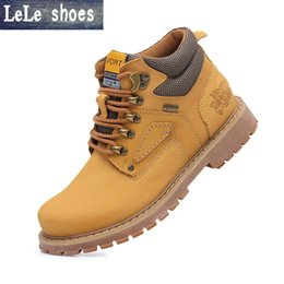 Wholesale Outdoor Charm - Wholesale-2016 Autumn Winter Men Ankle Timber Boots High Quality Leather Plush Fur Warm Snow Martin Boots Outdoor Botas Hombre Plus Size