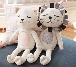 Wholesale Tv Animal Cartoon Characters - Cute Stuffed Cat Doll Lion Stuffed Doll Plush Comforting Soft Cartoon Animal Toys Instagram Baby Bedding Toys for Girls Kids Bedroom Decor