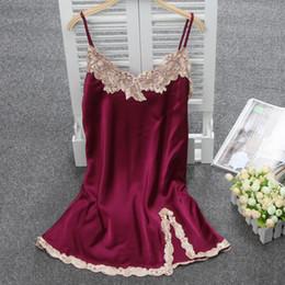 Wholesale Satin Sleeping Wear - Wholesale- Women Sexy Silk Satin Nightgown Sleeveless Nighties Lace Sleepshirt V-neck Sleep Dress Night Dress Comfortable Home Wear