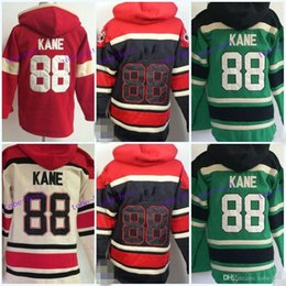 Wholesale Old Cheap - Cheap Price 88 Patrick Kane Chicago Blackhawks Hoody Red Green Black Green Kane Old Time Hooded Pullover Ice Hockey Hoodies