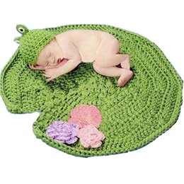 Cobertores de bebê unisex crochet on-line-Fotografia bebê Props Crochet Patttern recém-nascido prop fotografia menina menino unisex rã que o projeto do chapéu e cobertor conjunto infantil