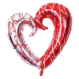 Wholesale Heart Shaped Hook - Large Hook Heart Shape Foil Balloons Double Color Heart Balloon Wedding Party Decoration Marriage Balloons h762