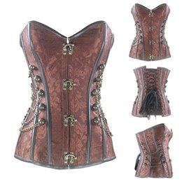 Wholesale gothic corset buckle - Steampunk Corset with Clasp Fasteners  Chain Steel Bone Corset Waist Training Gothic Bustier with Round Buckle Body Shaper Plus Size